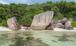 Anse Pierrot on La Digue Seychelles stock photo
