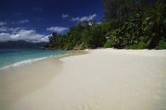 Anse Soleil med den härliga sandiga stranden, Seychellerna, Seychellerna Arkivbild