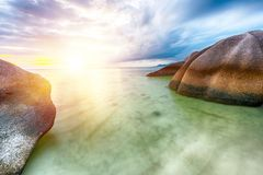 Anse Source d`Argent beach Royalty Free Stock Images
