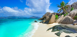 Anse Source d'Argent - Beach on island La Digue in Seychelles Royalty Free Stock Image