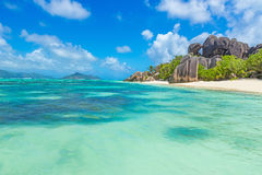 Anse Source d'Argent - Beach on island La Digue in Seychelles Royalty Free Stock Photography