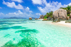 Anse Source d'Argent - Beach on island La Digue in Seychelles Royalty Free Stock Photos