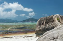 Anse Source d`Argent - beautiful Beach on tropical island La Digue in Seychelles Royalty Free Stock Photography