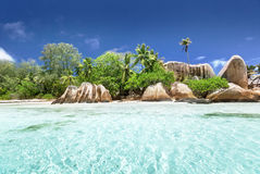 Anse Source d'Argent beach, La Digue island Royalty Free Stock Images