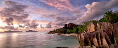 Anse Source d'Argent beach panorama Royalty Free Stock Images