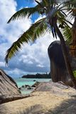 Anse Source D`Argent Beach in Seychelles, La Digue Island stock photo