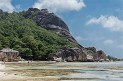 Anse Source d`Argent - beautiful Beach on tropical island La Digue in Seychelles Stock Photo