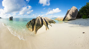 Anse Source d`Argent. Beautifully shaped granite boulders and a perfect white sand at the famous Anse Source d`Argent beach, La Digue island, Seychelles Stock Photo