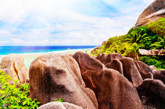 Anse Source d`argent, the La Digue island Royalty Free Stock Images