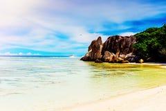 Anse Source d`argent, the La Digue island Stock Photos