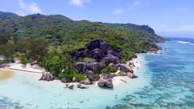 Anse Source D'Argent in La Digue Island - Seychelles aerial view Royalty Free Stock Photography