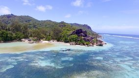 Anse Source D'Argent in La Digue Island - Seychelles aerial view Royalty Free Stock Photos