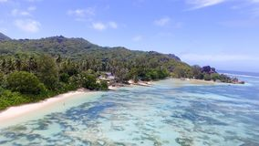 Anse Source D'Argent in La Digue Island - Seychelles aerial view Royalty Free Stock Image