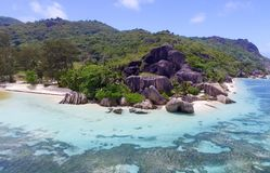Anse Source D'Argent in La Digue Island - Seychelles aerial view Stock Photography