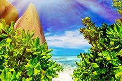 Anse Source d`argent, the La Digue island. The Seychelles Stock Image