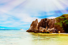 Anse Source d`argent, the La Digue island. The Seychelles. Toned image Royalty Free Stock Photo
