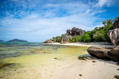 Anse source d`argent. In La Digue, Seychelles Royalty Free Stock Image