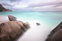 Anse Source D'Argent Long Exposure, Seychelles Stock Photos