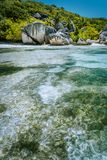 Anse Source d`Argent - Paradise tropical beach. Shallow lagoon on tide, Granite boulders and palm trees. La Digue island stock photography