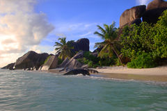 Anse Source d'Argent. Sunset over famous Anse Source d'Argent, La Digue, Seychelles Stock Image
