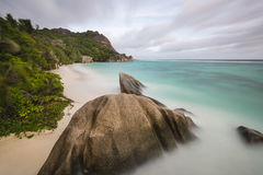 Anse Source D& x27;Argent Long Exposure, Seychelles Royalty Free Stock Photography