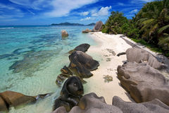 Anse source dargent,seychelles 2. A high viewpoint of the beach at anse source dargent in the seychelles Stock Photos
