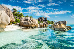 Anse Sous d'Argent beach with granite boulders Royalty Free Stock Image