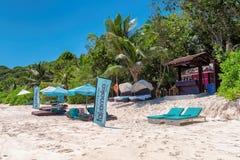 Anse Takamaka海滩在塞舌尔群岛 免版税库存照片