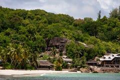 Anse Takamaka海滩在塞舌尔群岛 库存图片