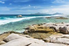 Anse Zusatz-Cedres, La Digue, Seychellen stockfoto