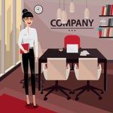 Anseende för affärskvinna i hennes privata kontor royaltyfri illustrationer