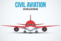 Anseende för borgerligt flygplan på chassiet stock illustrationer