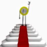 Anseende för euromyntrobot på illustration för röd matta Royaltyfri Bild