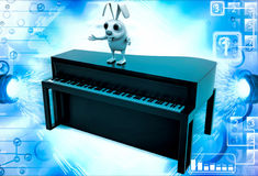 anseende för kanin 3d på brun pianoillustration Royaltyfri Foto