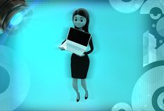 anseende för kvinna 3d med bärbar datorillustrationen Royaltyfri Foto