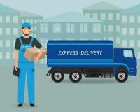 Anseende för leveransanställdtecken med mappen och packe på en uttrycklig hemsändningbilbakgrund vektor illustrationer