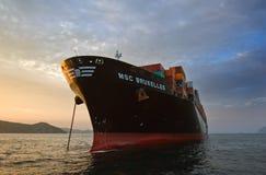 Anseende för MSC Bruxelles för behållareskepp på vägarna på ankaret Nakhodka fjärd Östligt (Japan) hav 05 08 2015 royaltyfri bild