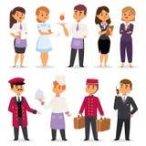 Anseende för receptionist för arbetare för hotellyrkefolk lyckligt på hotellräknaren och gulliga tecken i enhetlig reservation vektor illustrationer
