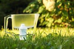 Anseende för tillbringare för vattenfilter på det gröna gräset i sommarträdgård arkivbild