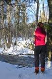 Anseende för ung kvinna i vintrig skog och hålla ögonen på en liten vik royaltyfria bilder