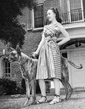 Anseende för ung kvinna med hennes Great dane i en borggård (alla visade personer inte är längre uppehälle, och inget gods finns  Arkivfoton