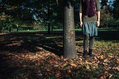Anseende för ung kvinna vid ett träd i höst Fotografering för Bildbyråer