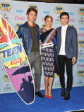 Ansel Elgort & Shailene Woodley & Nat Wolff. LOS ANGELES, CA - AUGUST 10, 2014: Ansel Elgort (left), Shailene Woodley & Nat Wolff at the 2014 Teen Choice Awards royalty free stock images