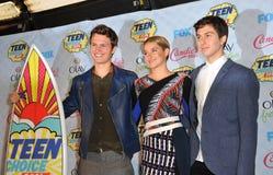 Ansel Elgort & Shailene Woodley & Nat Wolff. LOS ANGELES, CA - AUGUST 10, 2014: Ansel Elgort (left), Shailene Woodley & Nat Wolff at the 2014 Teen Choice Awards royalty free stock photo