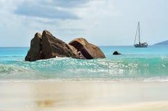 Anselazio strand, Seychellen Stock Afbeeldingen
