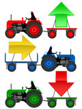 AnSet of tractors pulling trend arrows. Set of tractors pulling hangers with trend arrows stock illustration