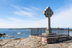 Ansgars Cross Birka. The Ansgars Cross or Ansgar monument (Swedish: Ansgarskorset) was raised 1834 at the 1000th year anniversary of the missionary Ansgars royalty free stock photo