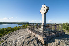 Ansgars Cross Birka. The Ansgars Cross or Ansgar monument (Swedish: Ansgarskorset) was raised 1834 at the 1000th year anniversary of the missionary Ansgars stock photography