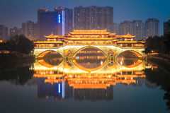 Anshun bridge in chengdu at night Royalty Free Stock Photos
