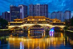 Anshun bridge at night, Chengdu, China Stock Photo